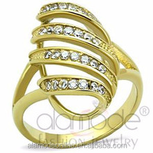 Fancy stainless steel ip gold shaped egg cz rings designs