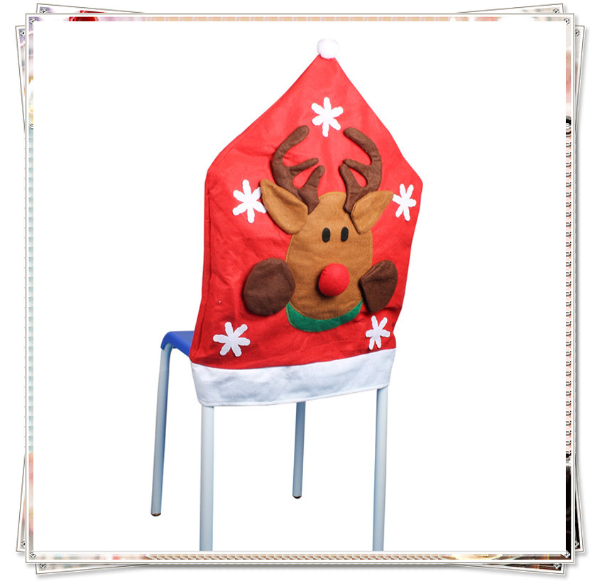 Sd003christmas Chair Back Covers Santa Claus Red Hat Chair