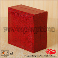 Hinged lid design red color faux leather watch box