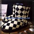 padrão preto e branco couro genuíno sheepksin baratos botas de neve para as mulheres no inverno