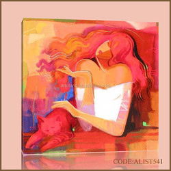 Handpainted hot sale abstract oil painting cat of sexy woman and red cat
