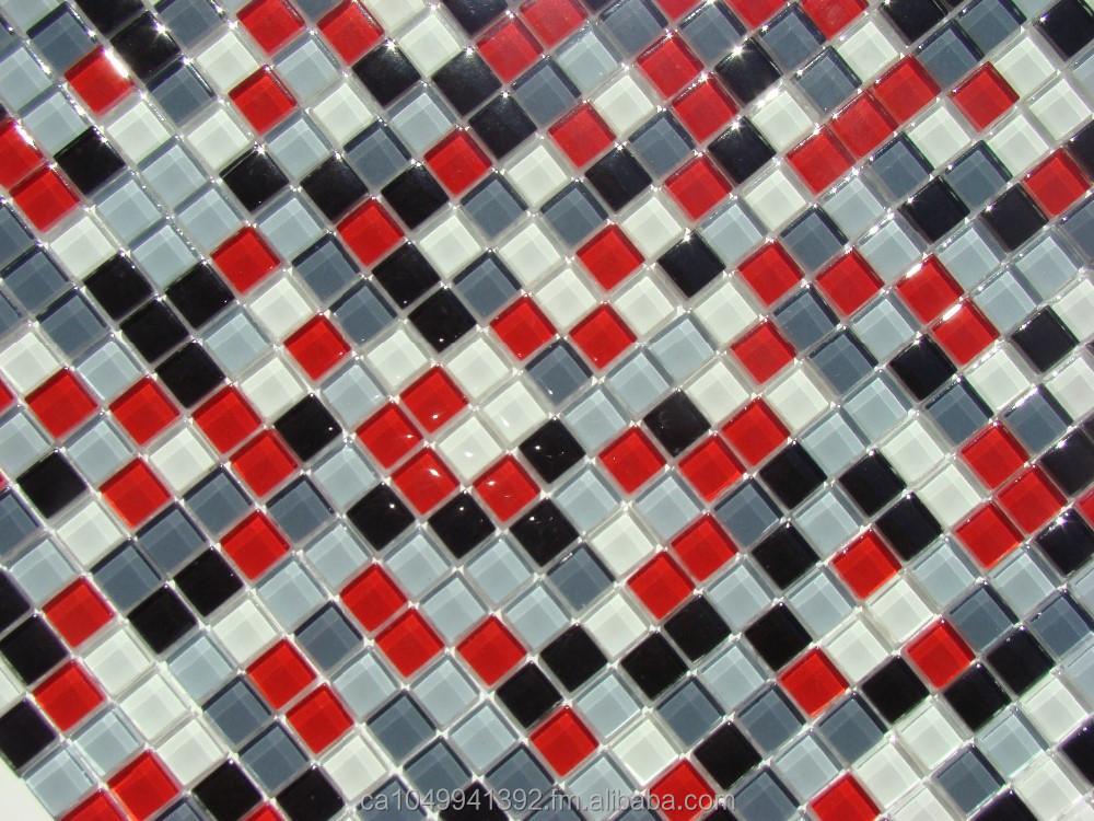 Burst rouge blanc noir gris verre carr dosseret de for Carrelage cuisine rouge et blanc