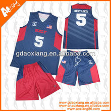Latest stretchable fabric breathable design dazzle colored cool basketball sets wholesales