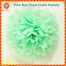 Wholesale wedding supplies Tiffany mint green color paper pom poms 10 inch 20 cm paper flower balls for wedding table decoration