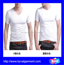 Alibaba china online shopping mens two style Crew & V neck high quality plain design your own t shirt