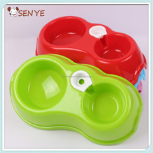 Pet Puppy Dog Cat Dual Automatic Round Double Bowl Drinking Fountain New