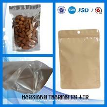 kraft paper nuts plastic packing has zip on top