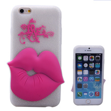 wholesale cute lip shape fluorescence silicone cheap cell phone case for iphone