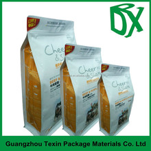 China supplier wholesale 8 side sealed and flat bottom plastic zip pouch with custom printing for pet food packaging