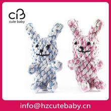 cute rabbits shape rope pet toys