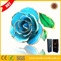 Wholesale Alibaba 24k Blue Color Gold Foil Rose, Real Gold Plated Rose As Wedding Gift