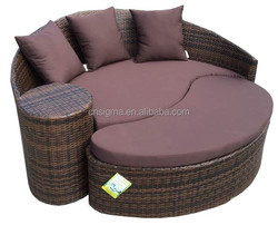 2015 Hotel poly rattan outdoor beach furniture sun modern wave bed
