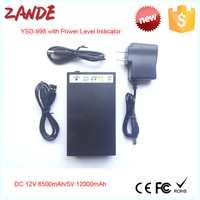 Rechargeable li polymer battery pack 12V 6500mah/5V 12000mah with power level indicator for LED strips high quality