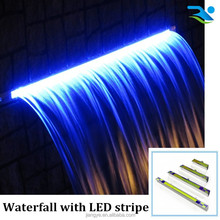 Swimming pool waterfall with LED light,pool water feature with led light