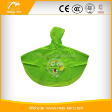 Green PVC kids rain poncho with funny pattern