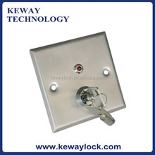 Stainless Steel Key Reset Panic Button With LED, Door Open Button with 2 keys, Access Control Exit Button