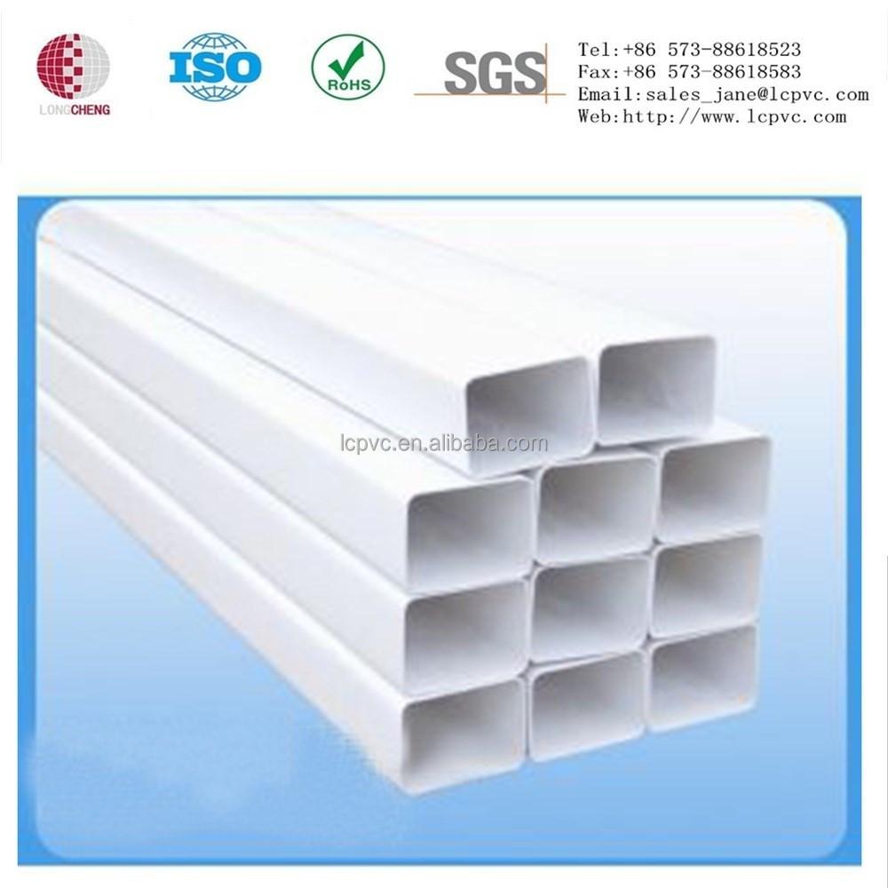 Plástico extrusiones pvc tubo cuadrado rectangular de
