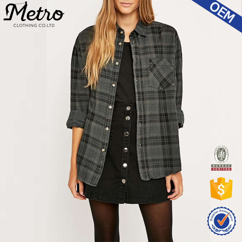 customised oversized women spring grey plaid flannel