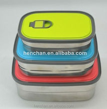 2015 new rectangle shaped stainless steel food container with plastic lid