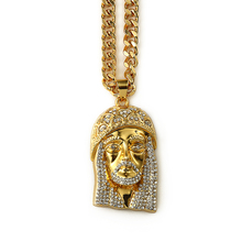 2015Hot 18k gold plated bling bling crystal iced out jesus head pendant chain hiphop fashion necklace hip hop jewelry(big size)