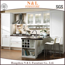 Korean kitchen cabinet manufacturers high gloss vinyl wrap kitchen collection