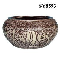 Sea world carving fish antique ceramic planter