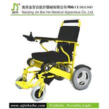 Yellow colour folding electric motor wheelchair