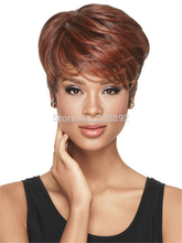 Natural Wig African American Short Hairstyles Wigs for Black Women Synthetic Straight Auburn U Part Wig