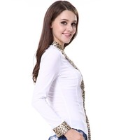 Cotton Stand Collar Jointed Leopard Beaded Front Women Shirts Blouses