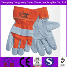 DS11300 tear resistance 4 class Cow split leather working safety gloves with thumb reinforcement