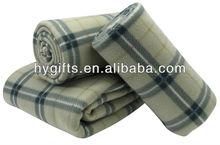 Customized plaid print polar fleece blanket