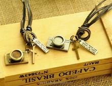 vintage real leather adjustable band camera design necklace