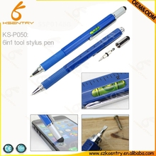 multi-fuction stylus pen, 6 in 1 tool pen with spirit level, screwdriver and ruler