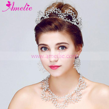 AZ915 Crystal Loop Wedding Bridal Tiara and Necklace Jewellery Set