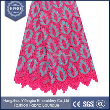 2015 Wholesale guipure lace fabric 5 yards / Fushia pink Rhinestones african lace embroidery fabric for wedding dress