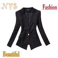 новые основные куртки blazer женщин сплошной цвет случайных пальто и куртка подходит для женщин пиджаки и куртки черный белый костюм