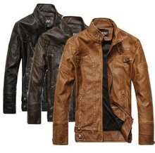 2015 OEM Hot sell Men's Fashion Leather Motorcycle Coats Jackets Washed Leather Coat