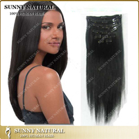 Natural Black Straight Human Hair Extension Malaysian Clips in Hair Extension