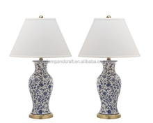 E26 socket golden base antique flower pattern ceramic table lamp with white lamp shade