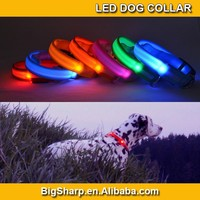 7 Colors LED Stripe Dog Collar Safety Glowing in Dark Adjustable Collar with Plastic Buckle DC2503