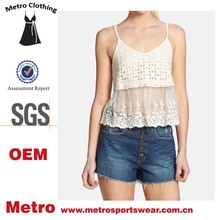 Latest Design OEM Tops Ladies Crochet and Embroidered Mesh Sexy Tops
