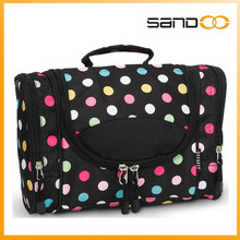2015 Double Layer Fashion Cosmetic Bag with Polka Dot Travel Cosmetic Bag