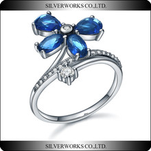 2015 Silver Works Flower Sterling Silver Aquamarine clover CZ Stone Ring