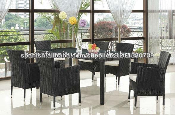 Conjunto muebles de jard n en poly ratan aluminio 6 1 for Aluminio productos de fundicion muebles de jardin