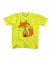 100% Cotton Fabric Yellow Fox Tee Toddler Kids New Model T-shirt Boy 2016 Summer Wear Blouse Z-BT80812-8