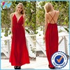 Yihao 2015 High Split Women Red Spaghetti Strap Backless Deep-V Pleated Maxi Sexy Dress