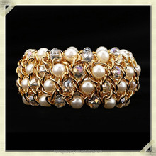 2015 Fashion artificial gold chain bracelet gold pearl chain bangle bracelet gold chunky chain bracelet (QMB-001)