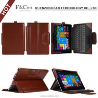 Classical brown real leather tablet cover for Microsoft surface 3,detachable keyboard case for surface 3 10.8 inch