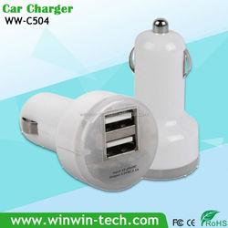New design transparent cover dual usb car charger 5v 2.1a