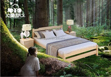 New style Hotel project bedroom Simple natural recycle wooden bed
